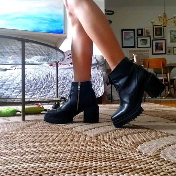 Zara trafaluc platform black leather boot boots